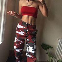 pantalones vaqueros de carga militar al por mayor-Camo Pantalones Cargo para mujer Pantalones casuales Ejército militar Combat Camuflaje Jeans Jeans Pantalón de cintura alta envío de la gota