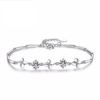 ingrosso braccialetti fatti a mano della pietra preziosa-Bracciale donna argento Bracciale quadrifoglio Bracciale pietra preziosa cristallo Compleanno fatto a mano regalo semplice temperamento ametista 24
