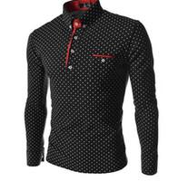 camisa de lunares de los hombres al por mayor-Camisas de vestir Moda masculina de manga larga Diseñador casual Vestir Camisa de lunares Camisas ajustadas Tamaño M-3XL