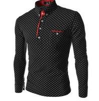 männer polka kleid hemden großhandel-Oberhemden Herrenmode Langarm Casual Designer Kleid Polka Dot Shirt Fit Hemden Größe M-3XL