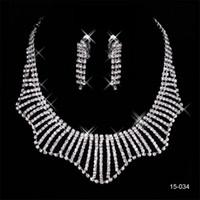 küpeler toptan satış-Özel 150-34 Takım Küpe Kristal Düğün Gelin Yuvarlak Küpe ve Kolye Moda Gelin Akşam Parti Takı