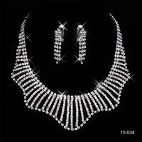 kristal kolye takımı setleri toptan satış-Özel 15034 Takım Küpe Kristal Düğün Gelin Yuvarlak Küpe ve Kolye Moda Gelin Akşam Parti Takı