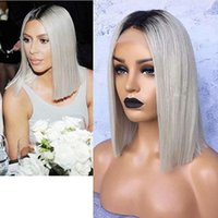 Wholesale bob wig grey color online - Fashion Dark Roots Ombre Grey Color Short Bob Cut Wigs Glueless Synthetic Lace Front Wigs for Women Middle Part Straight Hair Heat Resistant