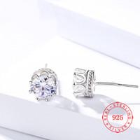 ingrosso orecchini cubici di porcellana-Orecchini a forma di strass in argento sterling 925 con corona in argento sterling per donna