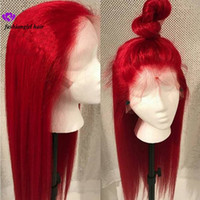 ombre 613 spitze großhandel-Neue # 613 Blau / Rot / Rosa / Lila / Gelb Bunte brasilianische Perücke mit gerader Spitze für Frauen