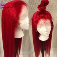 cabelo brasileiro azul venda por atacado-Novo # 613 Azul / Vermelho / Rosa / Roxo / Amarelo Colorido Brasileiro Reta frente peruca Pré Arrancada Rendas peruca de cabelo sintético Frontal para as mulheres