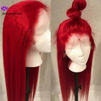 peluca roja de encaje brasileña al por mayor-Nuevo # 613 Azul / Rojo / Rosa / Púrpura / Amarillo Colorido Brasileño Peluca delantera recta del cordón Pre Plucked Peluca sintética frontal del pelo del cordón para las mujeres