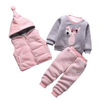 Wholesale child suit for winter resale online - 3pcs set Winter Children Clothing Sets Cotton Deer Christmas Snowsuit Thicken Warm Sweatshirt Suit For Girls Boy Kids Clothes J190718