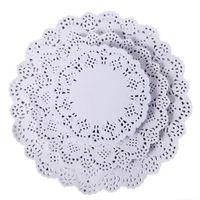 круглая кружевная бумага оптовых-Круглые кружевные бумажные коврики подставки для столовых приборов свадебные мероприятия праздничный стол