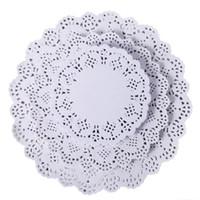encaje redondo de papel al por mayor-Cordones de papel redondos de encaje Posavasos Mantelería Eventos de boda Fiesta Mesa Regalo