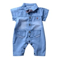 mamelucos del bebé niños mezclilla al por mayor-WEIXINBUY Summer baby boy girls Mamelucos Summer New Infant Boys Girls Denim Ropa 2018