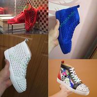 neue spikes großhandel-2019 New Designer Bottom ist Red verzierte Spikes Flats Luxury Schuh für Herren-Frauen-Partei-Liebhaber echtes Leder-beiläufige Schuh-Turnschuh-35-47