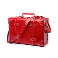 18 zoll gepäck großhandel-LeTrend Retro Rollgepäck Frauen Passwort Reisetasche Rot Trolley Koffer Räder Vintage 13/15/18 zoll iCabin Kosmetiktasche
