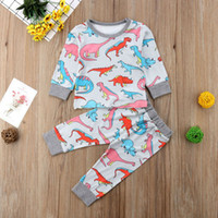 Wholesale baby dinosaur shirt resale online - 16 The best new toddler girls clothing baby boy clothes t shirt dinosaur shirt pants sport