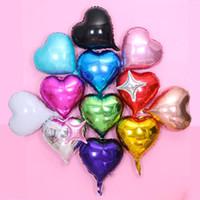 geburtstag herz ballons großhandel-18 Zoll Herz geformt Aluminiumfolie Ballon Valentinstag Liebe Geschenk Hochzeit Geburtstag Party Dekoration Ballons Festival Versorgung neu