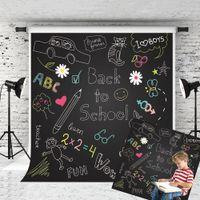 karikatur schießen großhandel-Traum 5x7ft Zurück zu Schule Hintergrund Cartoon Muster Tafel Fotografie Hintergrund für Kinder Schule Thema Shoot Studio Prop 1,5x2,2 m