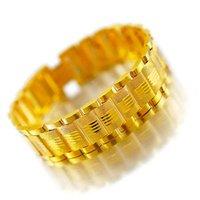 mann reines gold armband großhandel-Herren dickes goldenes Boutique-Armband Vietnam Sha Jin aus reinem Kupfer vergoldet 24 Karat vergoldetes 24k Herrenarmband
