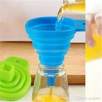 Wholesale oil can silicone resale online - DHL Free Mini Silicone Gel Foldable Collapsible Style Funnel Hopper Kitchen Cozinha Cooking Tools Accessories Gadgets Outdoor