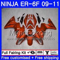 kit corps er6 f achat en gros de-GLoss orange hot Body Pour KAWASAKI NINJA 650R ER 6F ER-6F 2009 2010 2011 252HM.35 Ninja650R ER6 F ninja650 ER6F 09 10 11 Kit de carénage + 7 ponts