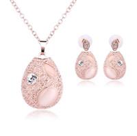 ingrosso pendente d'acqua opale d'acqua-2019 New Romantic Opal Pendant Necklace Stud Earrings Water Drop Crystal Opal Set di gioielli da sposa Accessori per gioielli da sposa