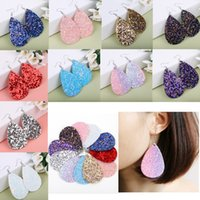 Wholesale PU sequins drop shaped earrings Bohemian Shiny leather earrings drop jewelry Long earrings colors Fashion Accessories AAA1533