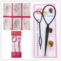 ingrosso creatore della fascia-2Pcs / Set Magia colorato Hair Bun Maker Hairband Accessori per capelli Donne Ragazze Piatto Pull Pins Styling Holder Quick Dish Headband