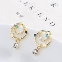 ingrosso orecchini di tracciatura-S925 orecchini in argento con ago planetario belli e delicati orecchini di perle color zircone perla stella universo