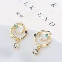 Wholesale tracking earrings resale online - S925 silver needle beautiful and delicate planet track earrings pearl wild color zircon universe star earrings