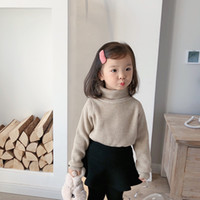 Wholesale angora pullover sweater for sale - Group buy Winter girls Angora yarn knitted high collar sweaters kids fleece lining thick long sleeve sweater clothing