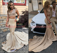 Wholesale plus size maternity special occasion dresses for sale - Sexy Two Pieces Prom Dresses Mermaid V Neck Champagne K19 Applique Beads Party Gowns African Special Occasion Custom Evening Robe De Soiree