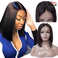 brezilya kısa saç dantel ön peruk toptan satış-Kısa 4x4 Düz Dantel Ön İnsan Saç Peruk Brezilyalı Düz Bob peruk 100% düz İnsan Virgin saç Dantel Frontal peruk