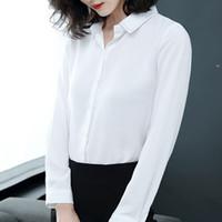 mujer hermosa blusas blancas al por mayor-Moda 2019 blusa de gasa mujer camisa de manga larga en blanco y negro tops de oficina dama hermosa mujer 2060 50