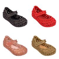 Wholesale summer ankle wrap sandals resale online - Melissa Children Sandals kids Hollow princess shoes summer PVC Non slip Soft bottom baby girls Jelly shoes C6411