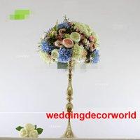 ingrosso arrangiamenti floreali per tavoli matrimoniali-Matrimonio fiore stand centrotavola metallo placcatura in oro matrimoni geometrica strada piombo per decor322 partito