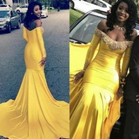 Wholesale navy ruffle prom dress resale online - Yellow African Mermaid Prom Dresses Appliques Lace Beads Off The Shoulder Long Sleeves Evening Gowns Satin Cheap Maid Of The Honor Dress