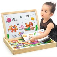 kinder magnetisches reißbrett groihandel-Educational Holzspielzeug für Mädchen Jungen-Kind-Kind-Kleinkind-Magnetic Drawing Board Puzzles Spiele für Alter Lernen 5 und bis Jährig G