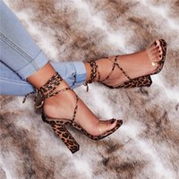 Wholesale sexy shoes leopard red for sale - Women Sandals Fashion High Heeled Lace Up Leopard Snake Sexy Party Shoes Hollow Out Dress Wear Thick Heels Women Pumps
