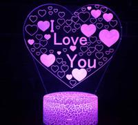 du liebhaber großhandel-Illusions-Nachtlicht der Lampen-3D i-Liebes-U-Herz 7 Farben, die dekorative Schreibtischlampe für Liebhaber Schlafzimmergroßverkauf ändern