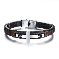 bracelet réglable couleur achat en gros de-Bracelet pour homme vintage en cuir poignet couleur noire en acier inoxydable bracelet croisé Style punk Bracelet réglable mâle Pulseira cadeau BL-418