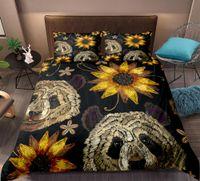 ingrosso re di piuma del panda-Biancheria da letto Panda retrò Copripiumino fiore giallo sole Set copripiumino tessuti per la casa Set biancheria da letto nero King size 3 pezzi