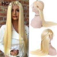 virgin lace wig toptan satış-# 613 Sarışın Tam Dantel İnsan Saç Peruk 613 Sarışın Dantel Frontal İnsan Saç Peruk Brezilyalı Bakire Düz Saç Şeffaf Dantel Frontal Peruk