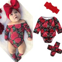 bebek çiçek kafa bandı toptan satış-Moda Bebek Kız Çiçek Giysileri 3 Adet Setleri Çiçekler Uzun Kollu Shoulderless Romper Bacak Isıtıcıları Kafa Bebek Kız Kıyafetler 0-24 M