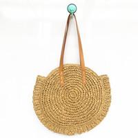 bolsas de playa para la venta al por mayor-Mujeres de tejido Bolsa de playa Bolsa de almacenamiento Bolsos de hombro de viaje Señoras simples Tote Bolsos de gran capacidad Venta caliente 23yh Z
