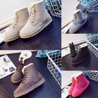 botas marrones para el invierno al por mayor-NUEVA Snow Winter Leather Women Australia Classic botas de media rodilla Botines Negro Gris marrón beige rojo Womens zapatos de niña zapatos para correr