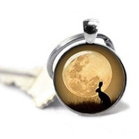 foto llavero de metal al por mayor-Watership Down, Bunny Keychain, Rabbit Keyring, Full Moon Keychain, Photo Key Ring, Quote Jewelry Pendant Glass Dome Key Chain