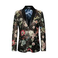 Wholesale mens suit costumes online - Mens Floral Blazer Jacket Luxury Brand Single Breasted Man Blazer Casual Party Stage Singer Suit Jacket Costume Homme XL