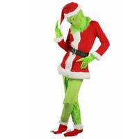 frauen santa outfit groihandel-2018 nagelneue Verkauf Weihnachtsmann Grinch Maskottchen Kostüm Stole Christmas-Party Anzug Outfits für Männer Frauen