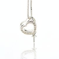 collar colgante de montaje al por mayor-S925 colgante de perlas de plata pura accesorios collar de perlas colgante de soporte accesorios de circonio Corazón de amor Collar Colgante