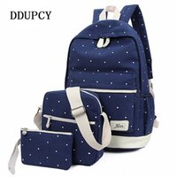 Wholesale school book bags men for sale - Group buy DDUPCY set Korean Casual Women Backpack Canvas Book Bags Preppy Style School Back Bags for Teenage Girls Composite backpack