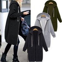 ingrosso tela aperta-Donna Inverno Caldo cerniera aperta felpate lungo cappotto del rivestimento delle parti superiori Outwear il formato S-XL